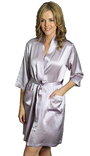 Silk Cocoon Frauen Morgenmantel – Reiner Seide - A08-Lavendel klein
