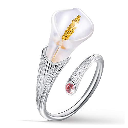 Lotus Fun Regalos para Navidad S925 Anillos de flores de plata de ley con susurros de loto anillo abierto hecho a mano joyería natural regalo único para mujeres y niñas 7.5 Rojo