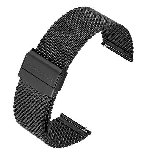 FIREFOX Mesh Ersatz- Uhrenarmband Milanaise Edelstahl schwarz Breite 22mm MSB-01-C22 Schnellwechselfunktion Quick Release