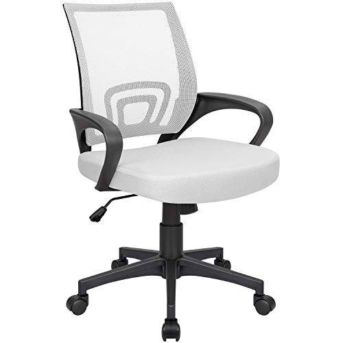 Homall Office Mid Back Computer Ergonomic Desk Chair (White)