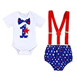 Baby Boy 1st Birthday 4th of July Outfits American Flag Star Romper Suspenders Diaper Cover Cake Smash Clothes Set (Royal Blue, 12-18 Months)