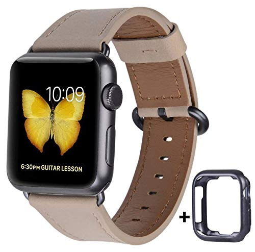 JSGJMY Compatible with Apple Watch Band 38mm 40mm 42mm 44mm Women Men Genuine Leather Replacement Strap for iWatch Series SE 6 5 4 3 2 1 (Light tan with Space Grey Clasp, 38mm/40mm S/M)
