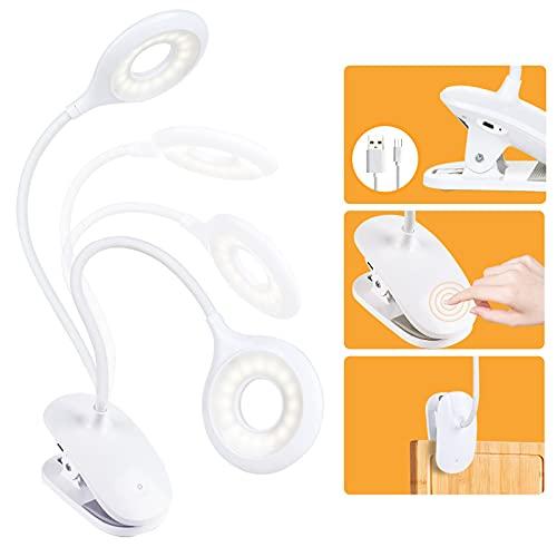 Lámpara Escritorio con Panel Táctil Lámpara de Lectura Lámpara de Mesa 3 Niveles de Brillo USB Placentera para Los Ojos OUSFOT