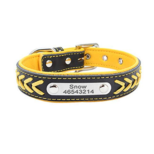 Crystally Collar de Perro Personalizado Personalizado Collar de Perro básico con Etiquetas de identificación de Placa de identificación grabadas Gratis para Perros, XXS-L
