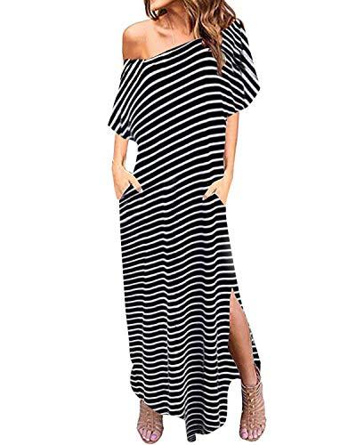 Zanzea - Vestido largo con hombros descubiertos y manga corta de rayas, bolsillos laterales, lateral abierto, veraniego, vestido de playa holgado de caftán, túnica cubierta, 05 franjas, negro, 3XL