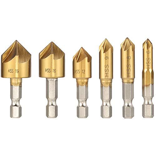 tiopeia 6 Stück 90° Kegelsenker Set, HSS Sechskant Senker Kit, Fasefräser Enthalten Loch Reibahle, Kegelsenker für Holzbearbeitungsbohrer 6mm-19mm