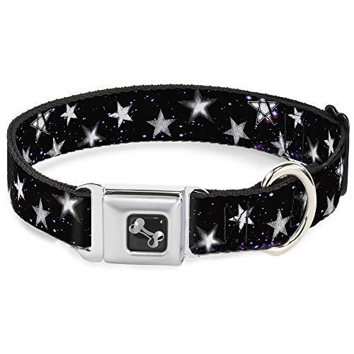 Buckle Down en el Espacio de Estrellas Brillantes Negro/Morado/Blanco Collar de Perro Hueso, grande/15–26'