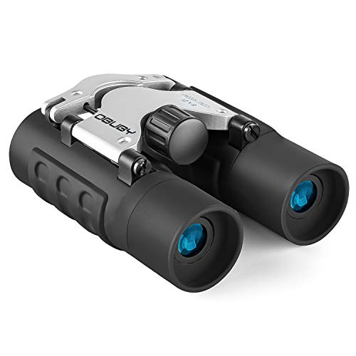 Obuby Real Binoculars for Kids Gifts for 3-12 Years Boys Girls 8x21 High-Resolution Optics Mini Compact Binocular Toys Shockproof Folding Small Telescope for Bird Watching,Travel, Camping, Black