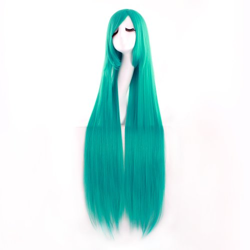 MapofBeauty 40' 100cm Anime Costume Long Straight Cosplay Wig Party Wig (Dark Turquoise)