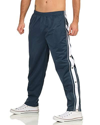 ZARMEXX - Pantaloni da allenamento da uomo con bottoni laterali apribili per il tempo libero blu acciaio XL