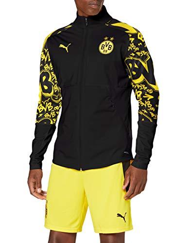 Puma Bvb Stadium - Giacca sportiva da uomo, Uomo, Giacca da tuta, 758137, Puma Black-Cyber Yellow-Away, XL