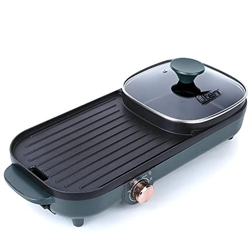 Uten Pentola per barbecue Grill elettrico Pentola multifunzione 2 in 1 Padella antiaderente senza fumo