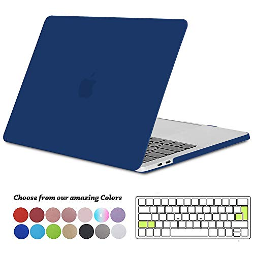 TECOOL MacBook Pro 13 inch Case 2019 2018 2017 2016, Plastic Beschermhoes en EU Toetsenbordhoes voor Apple MacBook Pro 13 met/zonder Touch Bar Model: A2159 / A1989 / A1706 / A1708 - Navy Peony