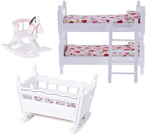 White 1 12 Scale Dollhouse Furniture Children Nursery Bedroom Bunk Bed Cradle Rocking Horse product image
