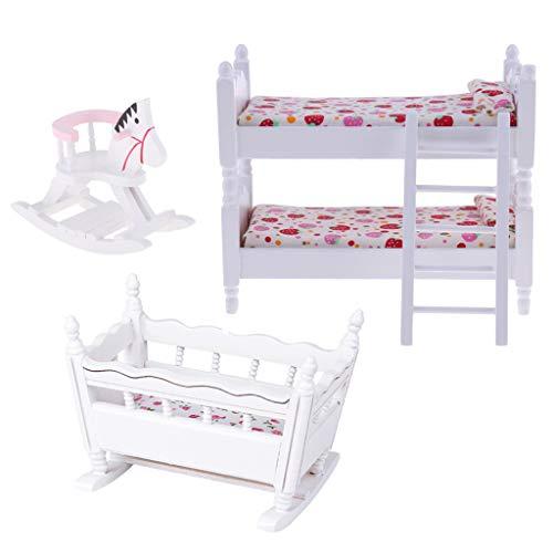 freneci 3pc 1/12 Dollhouse Muebles de Dormitorio Cama Litera de Madera