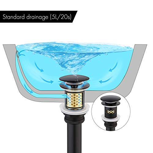 KES Pop Up Drain with Overflow with Detachable Hair Catcher Sink Drain Strainer for Bathroom Sink Drain Matte Black, S2018A-BK