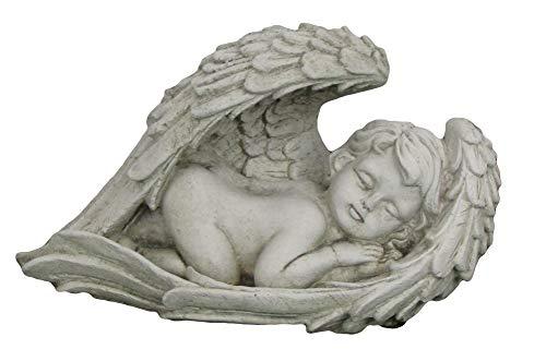 Steinfigur im Flügel schlafender Engel, Gartenfigur, 25 cm lang