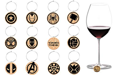 RUANJAI - 12 Pieces Wine Glass Charms Markers Marvel Party for Martinis Champagne Gift