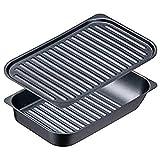 イシガキ産業 グリルパン ブラック 約幅18×奥行28 グリル名人 サンマ焼きプレート 波型プレート セット レシピ付き 魚焼きグリル ガス火 使用可能 4212