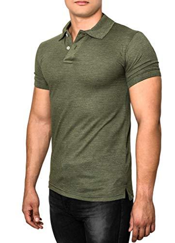 Crone Paul Basic Herren Slim Fit Polo Shirt aus Pique Baumwolle Kurzarm Polohemd (XL, Military Grün)