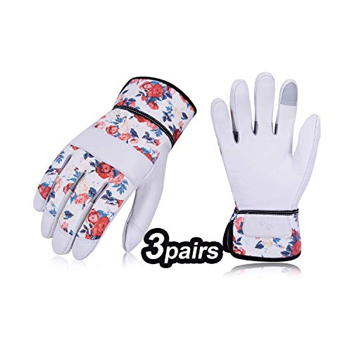 Vgo 3 Paare Garten- und Arbeitshandschuhe, Gartenarbeitshandschuhe mit Soften Ziegenlederpalmen, Weibliche Handschuhe (8/M, Weiß, GA3561)