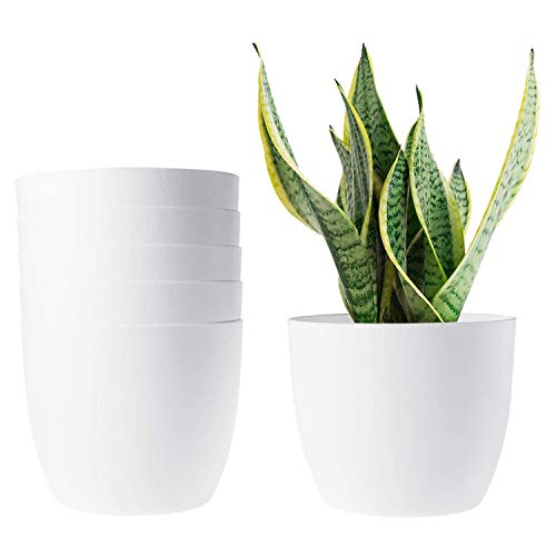 T4U 18CM Self Watering Planters Plastic White Set of 6, Modern Round Flower Pot Indoor Nursery Bonsai Plant Pot for Garden House Plants, Aloe, Herbs and More