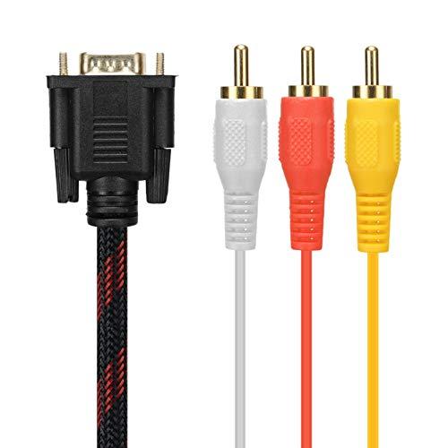OVBBESS Cable RCA Cable de audio RCA VGA a AV Cable de 15 pines a 3 RCA Audio AV Cable para HDTV PC DVD,5 pies/1,5 m