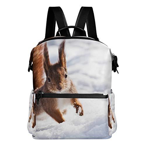 TIZORAX Squirrel In A Jump Snow - Mochila Escolar, diseño de Ardilla