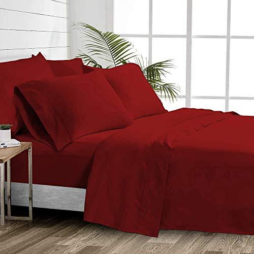 1000 Thread Count 100% Cotton Sheets – Burgundy Extra Long-Staple Cotton Twin XL Sheets, Fits Mattress 16'' Deep Pocket, Sateen Weave, Soft Cotton 4 Piece Bed Sheets Set