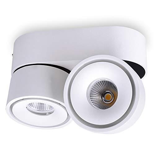 JVS Aufbaustrahler Aufbauleuchte Deckenleuchte Aufputz MONAKO MINI LED 2X 8W Warmweiß 230V IP20 rund weiss schwenkbar Strahler Deckenlampe Aufbau-lampe Downlight aus Aluminium - eingebaute Led-Lampen