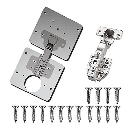 Reparación bisagra placa de la puerta del gabinete de cocina plana soportes de fijación duradero y fácil de llevar con tornillos orificio de la bisagra