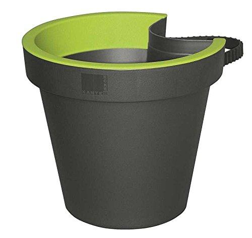 E&K Pflanztopf Topf für Regenrohr Fallrohr Regenrinnentopf, Farbe:anthrazit/maigrün