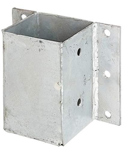 GAH-Alberts 208738 Pfostenträger für L- und U-Steine o. Mauern | zum Anschrauben | feuerverzinkt | 91 x 91 mm