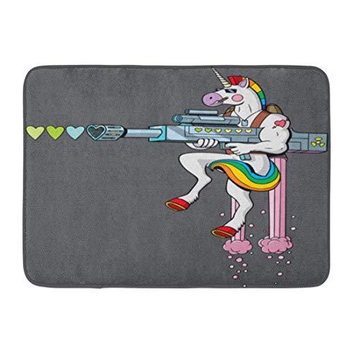 Alfombras de baño Alfombras de baño Alfombrilla para puerta exterior / interior Colorido Gay Unicornio Soldado Personaje Disparando corazones Su pistola de amor Arco iris Decoración de baño Alfombra A
