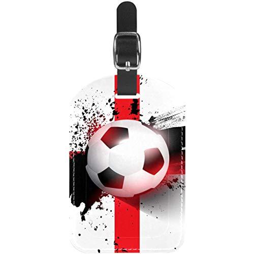 Bandera de fútbol de Inglaterra Etiquetas para Equipaje niños Etiquetas Grandes de Cuero Etiquetas Iniciales Conjunto de Etiquetas para Maletas 7x11.4cm