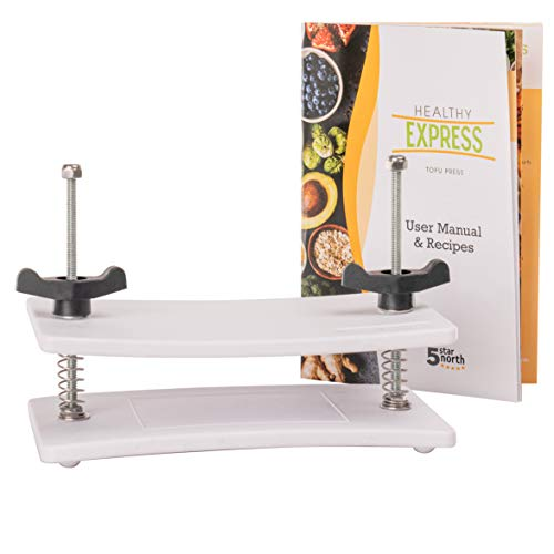 Tofu Press for EXTRA FIRM tofu - by Healthy Express - Premium curved plates for superior pressing results on Extra Firm tofu. Perfect Press every time! (2 Spring or Upgraded 4 Spring))