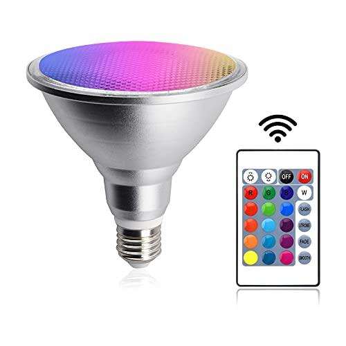Bonlux Bombilla LED RGB reflectora E27, regulable RGB con mando a distancia y temporizador, 20 W, cambio de color, para casa, fiesta, resistente al agua IP65
