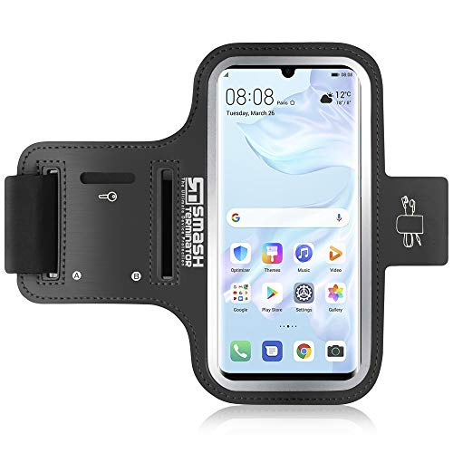 Samsung S10 Plus/iPhone XR Running Armband - Sports Phone Holder Case for Runners, Exercise & Gym Workouts - Also Compatible with iPhone 8 Plus / 7 Plus / 6 Plus/Samsung S9 Plus / S8 Plus