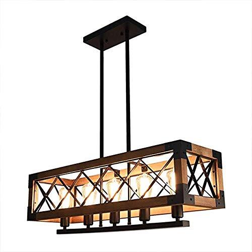 CHENJUNAMZ Retro LED Rectangular Creativa 5 Negro Fuente de luz Luz de Hierro Amarillo Fuente de elevación Cadena Habitación Sala
