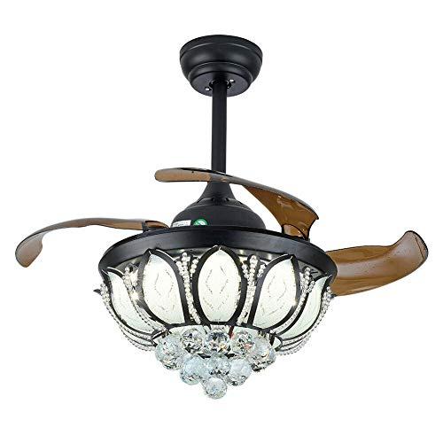 Ventilador de techo retro de 36 pulgadas con luz regulable, lámpara de techo con decoración de cristal vintage y mando a distancia