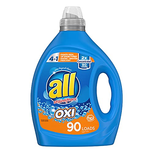 all Laundry Detergent Liquid, Fights Tough Stains with OXI Power, High Efficiency Compatible, 2X Concentrated, 90 Loads