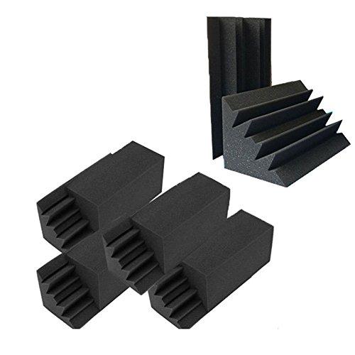 Gaoominy 8 Pack von 4,6 in x 4,6 in x 9,5 in Schwarz Schalldaemmung Isolierung Bass Trap akustische Wand Schaum Polsterung Studio Schaum Fliesen (8 Stueck, schwarz)