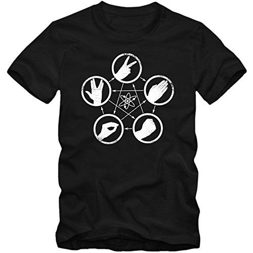 Sheldon T-Shirt #5 | Herren | Stein-Schere-Papier-Nerd-Motiv | The Big Bang Theory | TV-Serien-Fun-Shirts, Farbe:Schwarz (Deep Black L190);Größe:M