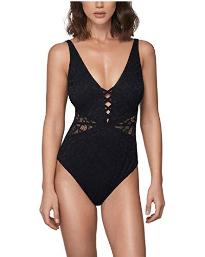 Profile by Gottex Women's Thick Strap V-Neck Cup Sized One Piece Swimsuit, Shalimar Black, 16D