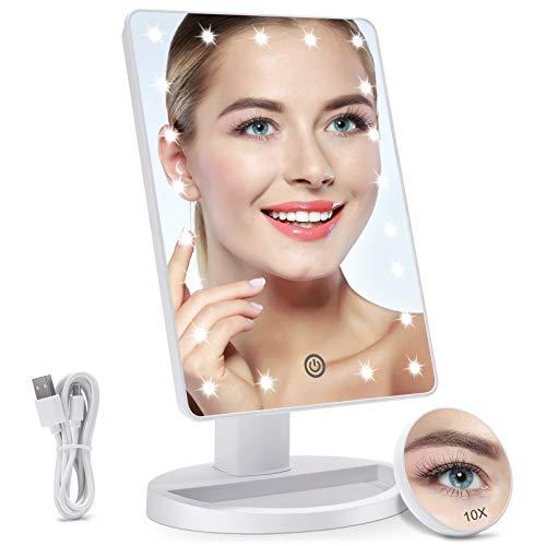 Espejo Maquillaje con Luz LED Aumento 1X/10X, Espejo Cosmético Iluminado de Mesa,180 Rotación, Brillo Adjustable Espejo de Tocador Portátil (Blanco)