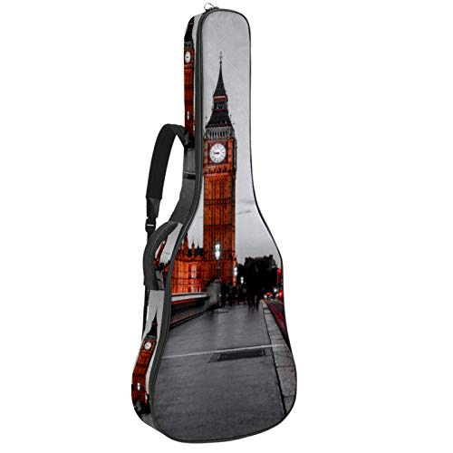 Acoustic Guitar Bag Waterproof Guitar Case 41 42 inch Guitar Gig Bag 10MM Padding with Back Hanger Loop and Pocket for Music Sheet Stand Paris Night