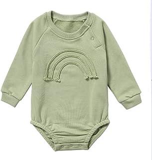 طفل رضيع بنات بلون رومبير الوليد طويلة الأكمام بذلة ملابس ملابس (Color : Green, Size : 90CM)