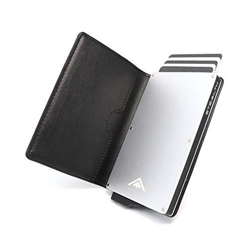 STEALTH WALLET Minimalista Portatarjetas RFID - Carteras de Tarjetas de Crédito Metálicas Delgadas y Livianas con Protección de Bloque NFC (Plata con Cuero Negro)
