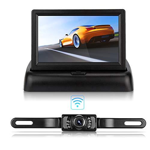 Camara Marcha Atras, Pantalla LCD Plegable de 4.3', Kit de Camara Vision Trasera HD, Sistema de Cámara Trasera Inalámbrica Impermeable IP68 para Camiones, Automóviles, Minivans