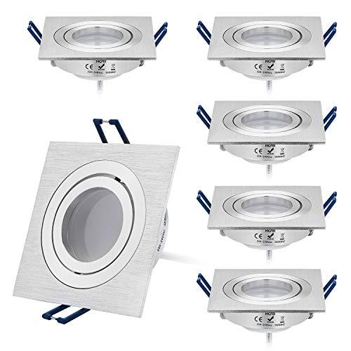 HCFEI 6er Set LED Einbaustrahler dimmbar flach(30mm Tiefe) Eckig, Alu gebürstet, Schwenkbar mit 5W LED Modul Warmweiß 3000K für 230V ohne Trafo, glanzpolierter Innenring